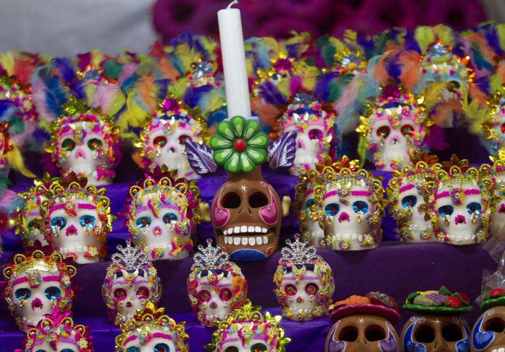 little decorated sugar skulls displayed