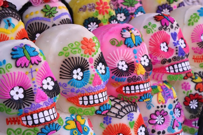 colorfully decorated sugar skulls displayed for the day of the dead