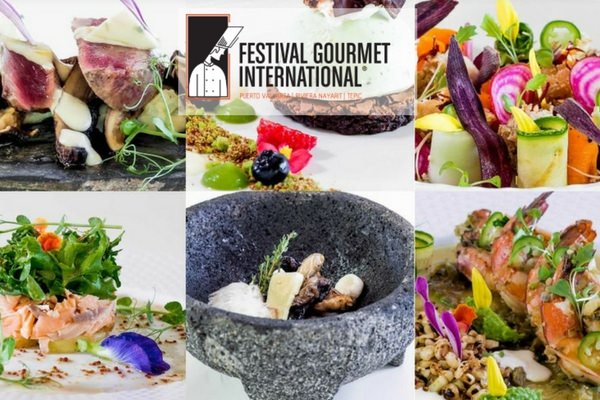a collage of  mexican foods and dishes prepared for the gourmet festival in Puerto Vallarta Mexico.