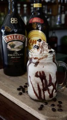 glass of ice cream bathed in kahlua, Baileys, rum, and espresso.