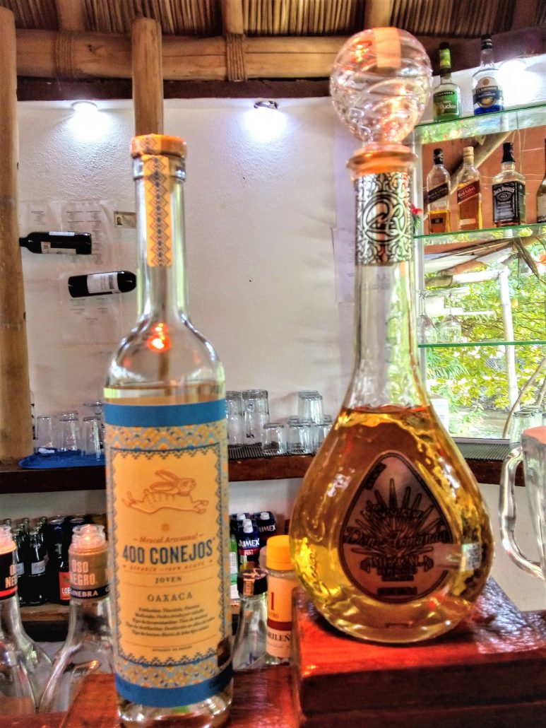 Two bottles of mezcal displayed on a bar top.