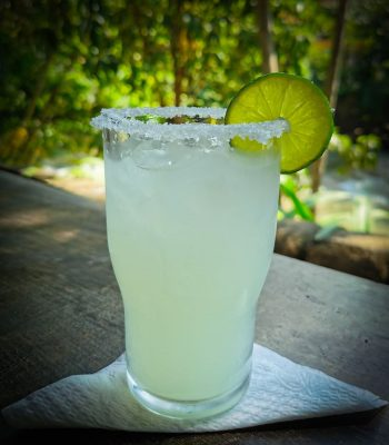 A glass of a traditional lime margarita.