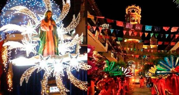 a parade float of the virgin of guadalupe and the parade route leading to the church