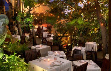 Dining tables in a garden at restaurant Cafe des Artistes in Puerto Vallart
