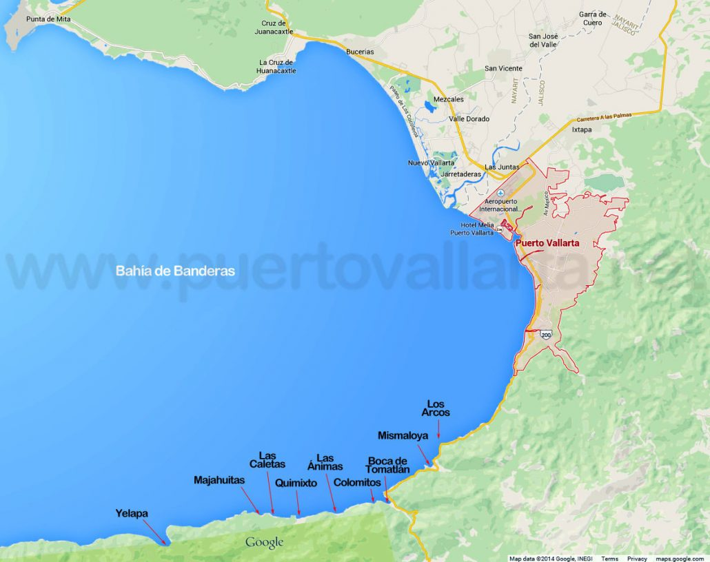 map of Bay of Banderas showing south shore beaches
