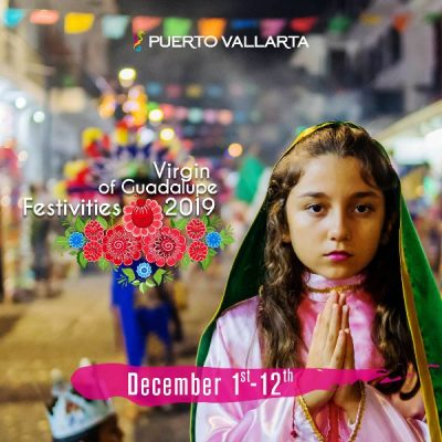little girl dressed in traditional costume of the virgin of guadalupe