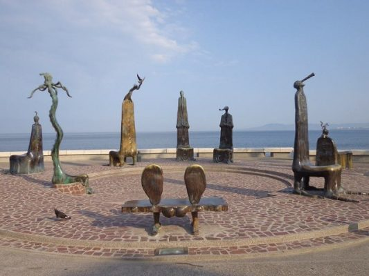 Bronze sculptures displayed on the malecon in Puerto Vallarta.
