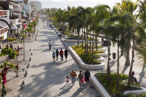 people strolling down the malecon in Puerto Vallarta