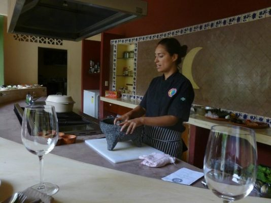 Chef Miriam Flores teaching her cooking class in Puerto Vallarta.