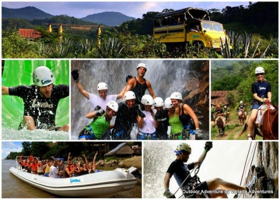 a collage of photos depicting people on an adventure tour in Puerto Vallarta