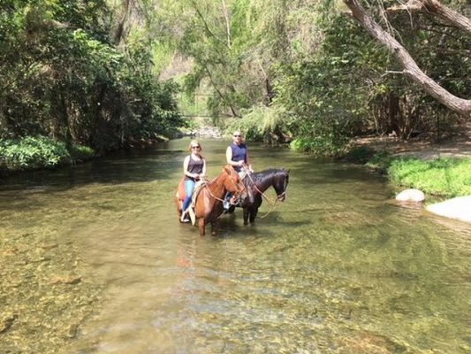 a couple on two horses wading in the clear water of the pitillal river.