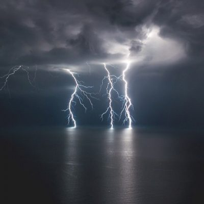 Lightning strikes the Bay of Banderas.