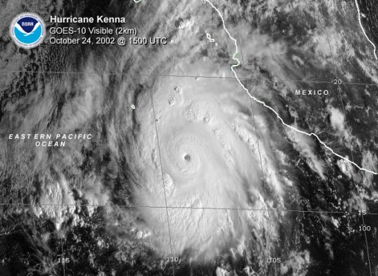 Satellite image of Hurricane Kenna brushing the west coast of Mexico