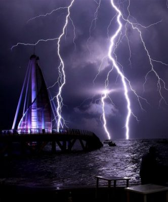 Lightning strikes off the municipal pier in Puerto Vallarta.