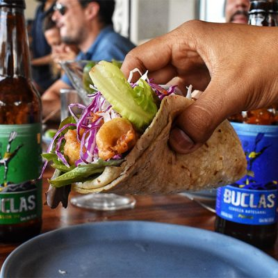 Famous Fish Taco with a local beer